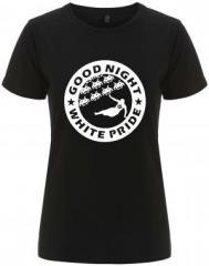 """Zum/zur  tailliertes Fairtrade T-Shirt """"Good night white pride - Space Invaders"""" für 18,00 € gehen."""