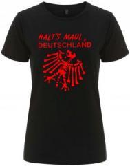 """Zum/zur  tailliertes Fairtrade T-Shirt """"Halt's Maul Deutschland"""" für 17,55 € gehen."""