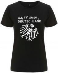 """Zum/zur  tailliertes Fairtrade T-Shirt """"Halt's Maul Deutschland (weiß)"""" für 18,00 € gehen."""