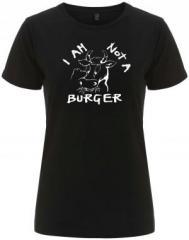 """Zum/zur  tailliertes Fairtrade T-Shirt """"I am not a burger"""" für 18,00 € gehen."""
