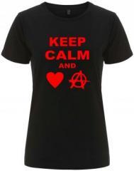"""Zum/zur  tailliertes Fairtrade T-Shirt """"Keep calm and love anarchy"""" für 18,00 € gehen."""