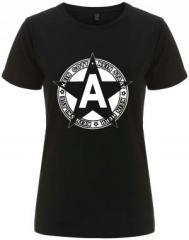 """Zum/zur  tailliertes Fairtrade T-Shirt """"Kein Gott Kein Staat Kein Herr Kein Sklave"""" für 18,00 € gehen."""