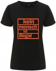 """Zum/zur  tailliertes Fairtrade T-Shirt """"Kein Mensch ist illegal (orange)"""" für 18,00 € gehen."""