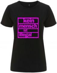 """Zum/zur  tailliertes Fairtrade T-Shirt """"Kein Mensch ist illegal (pink)"""" für 17,55 € gehen."""