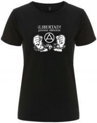 """Zum/zur  tailliertes Fairtrade T-Shirt """"Libertad presos obreros!"""" für 17,55 € gehen."""