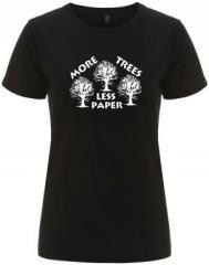 """Zum/zur  tailliertes Fairtrade T-Shirt """"More Trees - Less Paper"""" für 18,00 € gehen."""