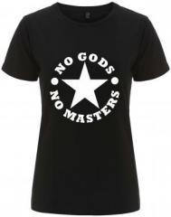"""Zum/zur  tailliertes Fairtrade T-Shirt """"No Gods No Masters"""" für 18,00 € gehen."""