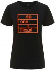 """Zum/zur  tailliertes Fairtrade T-Shirt """"no one is illegal"""" für 18,00 € gehen."""