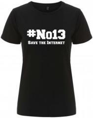 """Zum/zur  tailliertes Fairtrade T-Shirt """"#no13"""" für 18,00 € gehen."""