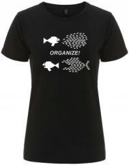 """Zum/zur  tailliertes Fairtrade T-Shirt """"Organize! Fische"""" für 18,00 € gehen."""