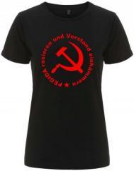 """Zum/zur  tailliertes Fairtrade T-Shirt """"Pegida rasieren und Verstand einhämmern"""" für 18,00 € gehen."""