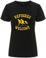 """Zum/zur  tailliertes Fairtrade T-Shirt """"Refugees welcome"""" für 18,00 € gehen."""