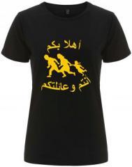 """Zum/zur  tailliertes Fairtrade T-Shirt """"Refugees welcome (arabisch)"""" für 18,00 € gehen."""