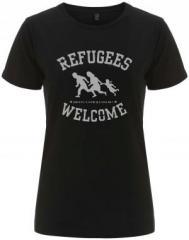 """Zum/zur  tailliertes Fairtrade T-Shirt """"Refugees welcome (schwarz/grauer Druck)"""" für 18,00 € gehen."""