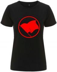 """Zum/zur  tailliertes Fairtrade T-Shirt """"Rote Fahne"""" für 18,00 € gehen."""