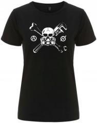 """Zum/zur  tailliertes Fairtrade T-Shirt """"Skull - Gasmask"""" für 17,55 € gehen."""