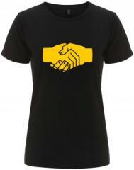 """Zum/zur  tailliertes Fairtrade T-Shirt """"Sozialistischer Handschlag"""" für 18,00 € gehen."""