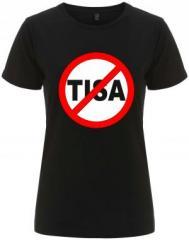 """Zum/zur  tailliertes Fairtrade T-Shirt """"Stop TISA"""" für 17,55 € gehen."""