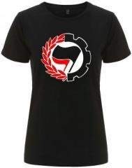 """Zum/zur  tailliertes Fairtrade T-Shirt """"Working Class Antifa"""" für 18,00 € gehen."""