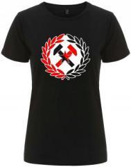 """Zum/zur  tailliertes Fairtrade T-Shirt """"Working Class Hammer (rot/schwarz)"""" für 18,00 € gehen."""