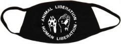 """Zur Mundmaske """"Animal Liberation - Human Liberation"""" für 6,50 € gehen."""