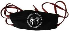 """Zur Mundmaske """"Animal Liberation - Human Liberation"""" für 6,34 € gehen."""