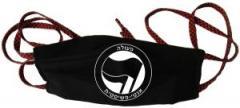 """Zur Mundmaske """"Antifaschistische Aktion - hebräisch (schwarz/schwarz)"""" für 6,34 € gehen."""