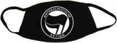 """Zur Mundmaske """"Antifaschistische Aktion (schwarz/schwarz)"""" für 6,50 € gehen."""