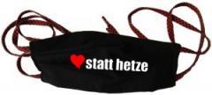 """Zur Mundmaske """"herz statt hetze"""" für 6,50 € gehen."""