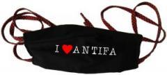 """Zur Mundmaske """"I love Antifa"""" für 6,50 € gehen."""