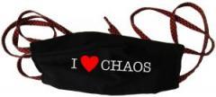 """Zur Mundmaske """"I love Chaos"""" für 6,50 € gehen."""