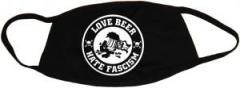 """Zur Mundmaske """"Love Beer Hate Fascism"""" für 6,50 € gehen."""