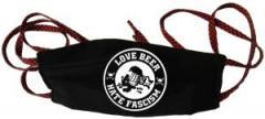 """Zur Mundmaske """"Love Beer Hate Fascism"""" für 6,34 € gehen."""