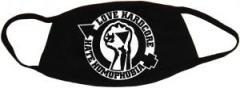 """Zur Mundmaske """"Love Hardcore - Hate Homophobia"""" für 6,34 € gehen."""