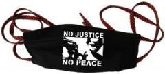 """Zur Mundmaske """"No Justice - No Peace"""" für 6,50 € gehen."""