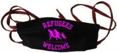"""Zur Mundmaske """"Refugees welcome (pink)"""" für 6,50 € gehen."""
