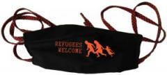 """Zur Mundmaske """"Refugees welcome (running family)"""" für 6,50 € gehen."""