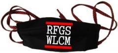 """Zur Mundmaske """"RFGS WLCM"""" für 6,50 € gehen."""