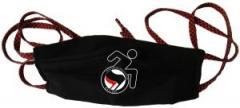 """Zur Mundmaske """"RollifahrerIn Antifaschistische Aktion (schwarz/rot)"""" für 6,50 € gehen."""