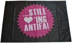 """Zur Fahne / Flagge (ca. 150x100cm) """"... still loving antifa!"""" für 12,67 € gehen."""