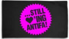 """Zur Fahne / Flagge (ca. 150x100cm) """"... still loving antifa! (pink)"""" für 15,60 € gehen."""