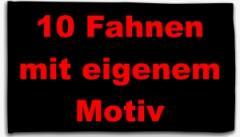 """Zur Fahne / Flagge (ca. 150x100cm) """"10 Fahnen mit eigenem Motiv"""" für 130,00 € gehen."""