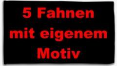 """Zur Fahne / Flagge (ca. 150x100cm) """"5 Fahnen mit eigenem Motiv"""" für 80,00 € gehen."""