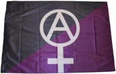 """Zur Fahne / Flagge (ca 150x100cm) """"Anarcho-Feminismus (schwarz/lila)"""" für 13,00 € gehen."""