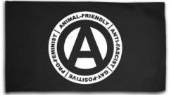 "Zur Fahne / Flagge (ca. 150x100cm) ""Animal-Friendly - Anti-Fascist - Gay Positive - Pro Feminist"" für 16,00 € gehen."
