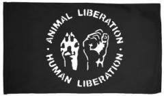 "Zur Fahne / Flagge (ca. 150x100cm) ""Animal Liberation - Human Liberation"" für 16,00 € gehen."