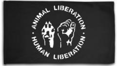 "Zur Fahne / Flagge (ca. 150x100cm) ""Animal Liberation - Human Liberation"" für 15,60 € gehen."
