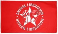 """Zur Fahne / Flagge (ca. 150x100cm) """"Animal Liberation - Human Liberation (mit Stern)"""" für 13,00 € gehen."""