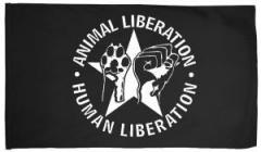 """Zur Fahne / Flagge (ca. 150x100cm) """"Animal Liberation - Human Liberation (mit Stern)"""" für 12,67 € gehen."""