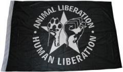"""Zur Fahne / Flagge (ca 150x100cm) """"Animal Liberation - Human Liberation (mit Stern)"""" für 13,00 € gehen."""
